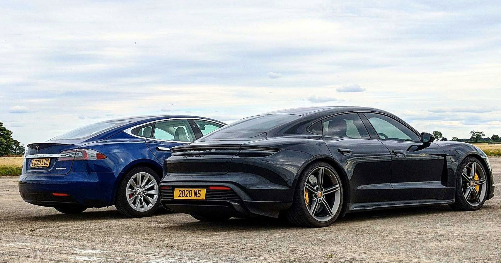 Tesla Model S With Cheetah Stance Races A Porsche Taycan Turbo S