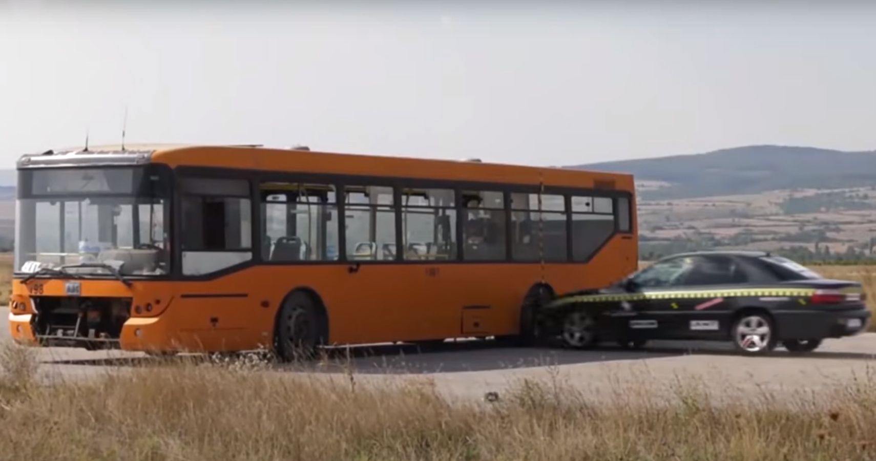 Watch The Impact This Driverless Sedan Makes Smashing Into A Bus At 129 MPH In Staged Collision