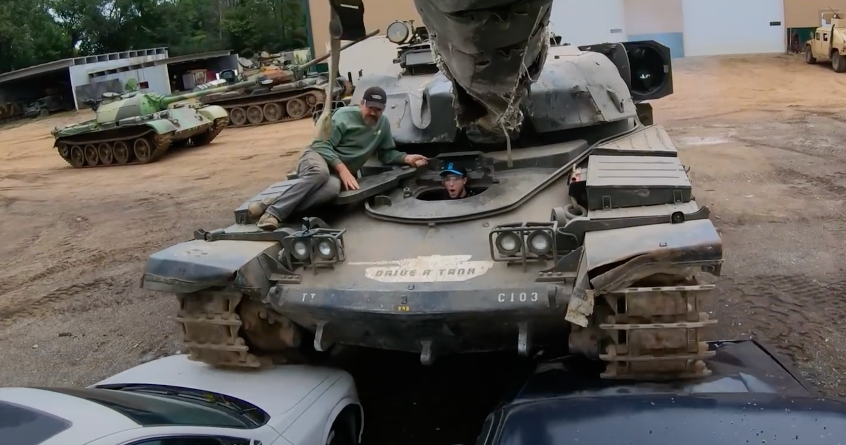 This Lucky Guy Crushed Some Sedans Using Massive Military Tanks