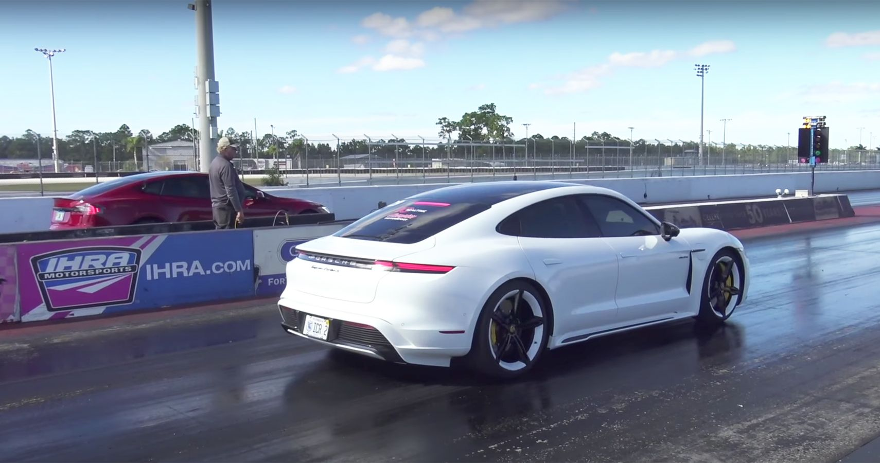 Porsche Taycan Turbo S And Tesla Model S Performance With Cheetah Stance In 1st Official Drag Race