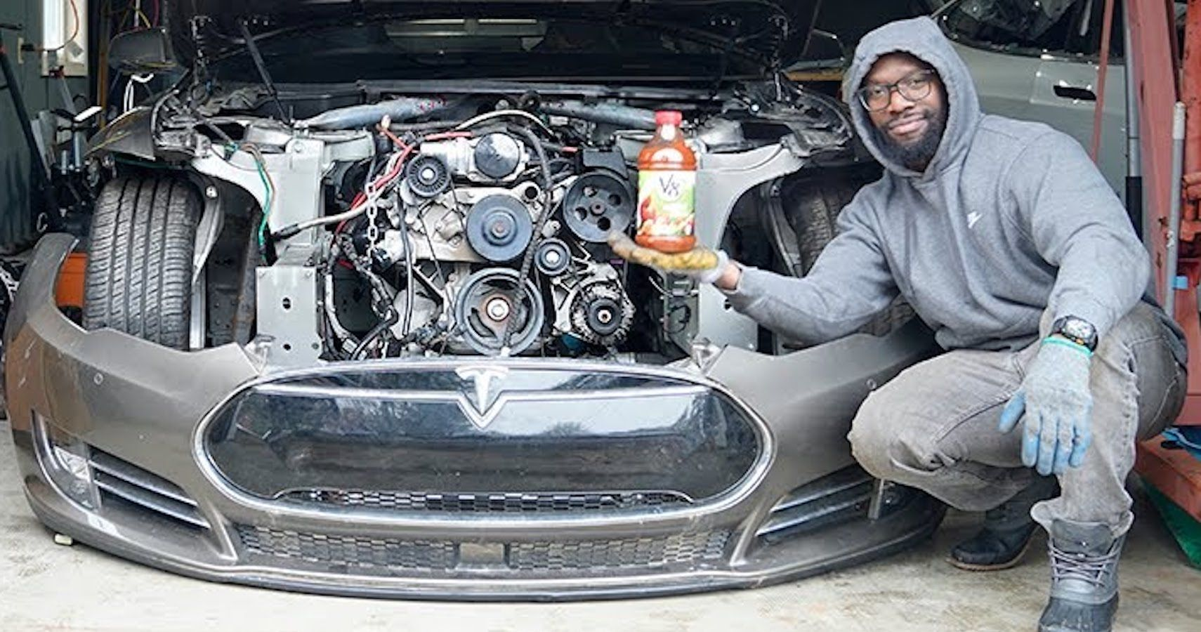 Despite The Haters, This V8-Swapped Tesla Model S Is Progressing Smoothly