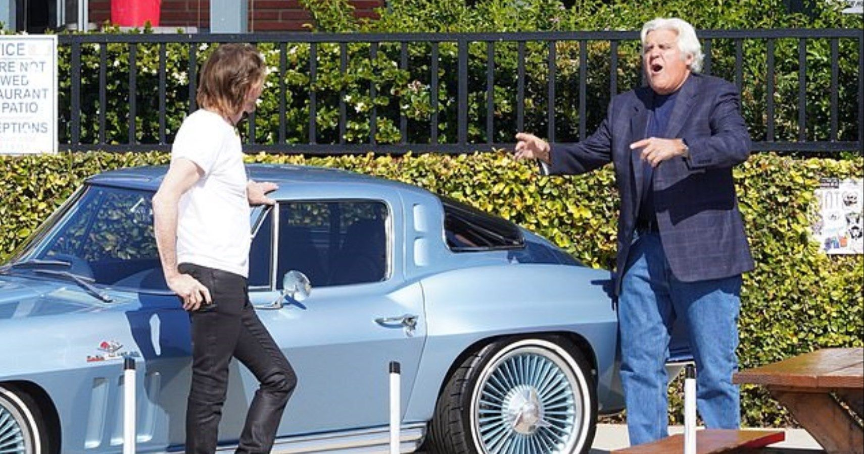 Jay Leno Jumps Into Action Saving Rick Springfield's Classic Corvette From Rolling Lexus