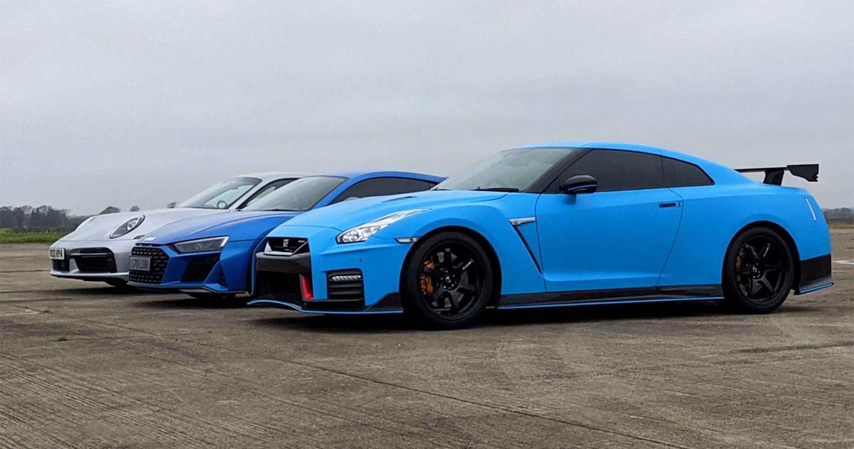 AWD Drag Race: New Nismo GT-R Vs Audi R8 V10 Vs Porsche 911 Turbo S