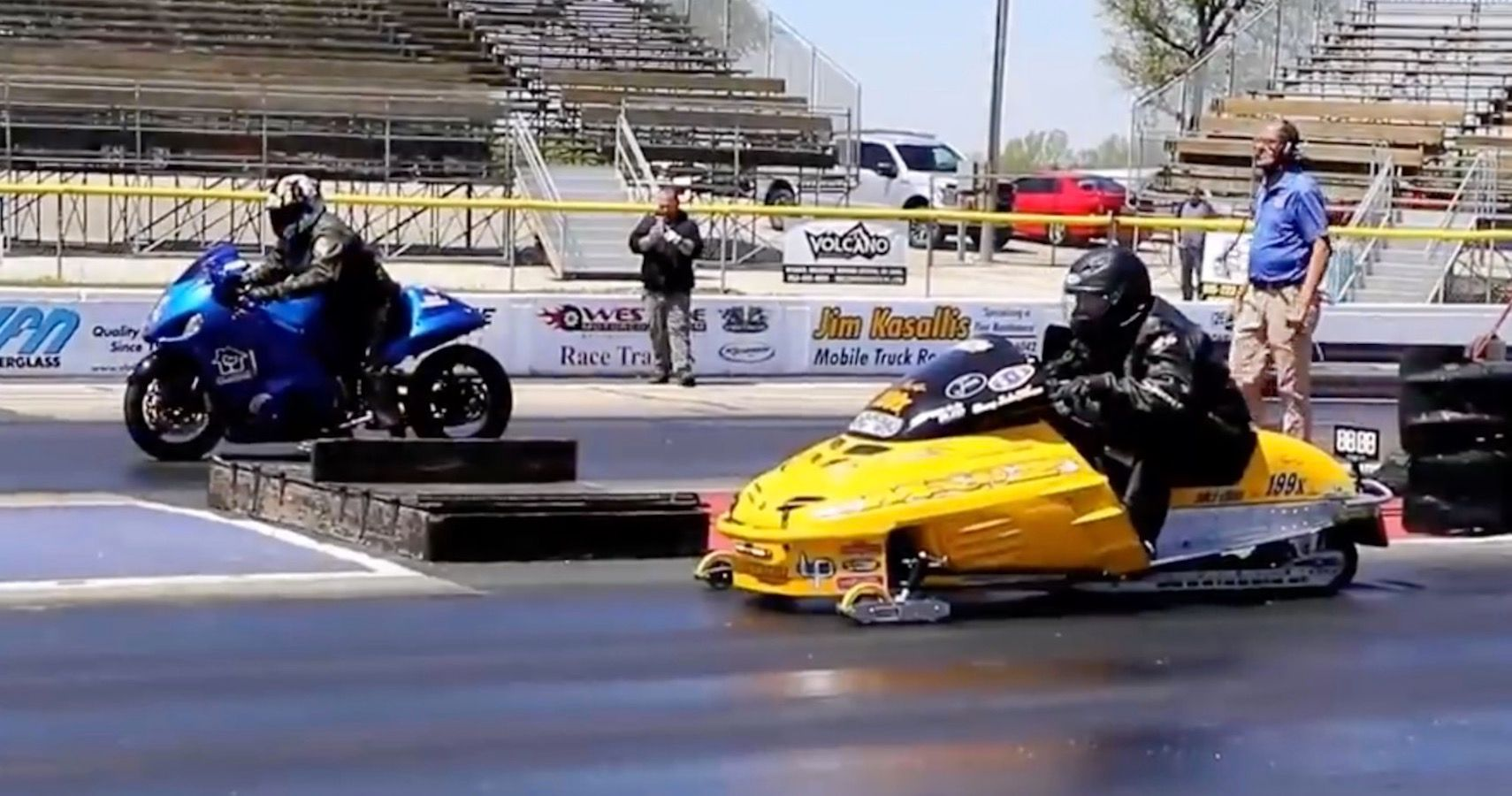No Snow, No Problem: Modified Snowmobile Drag Races Suzuki Hayabusa On Pavement